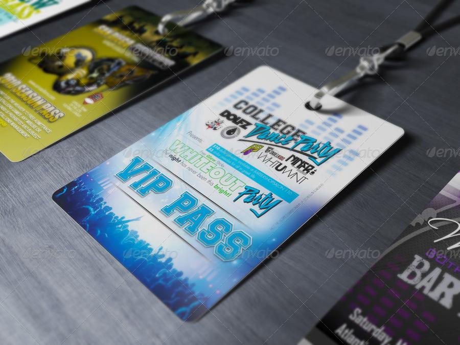 vip pass id card mockup event PSd branding