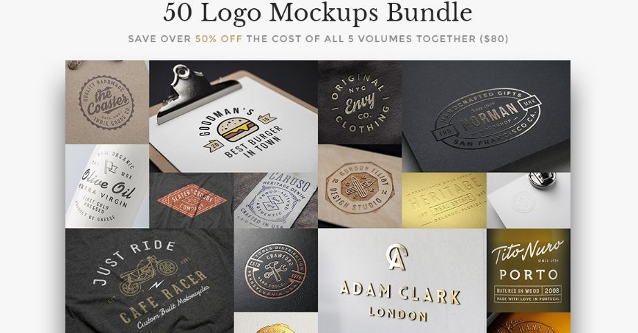 50+ High Resolution Logo Mockup Bundle