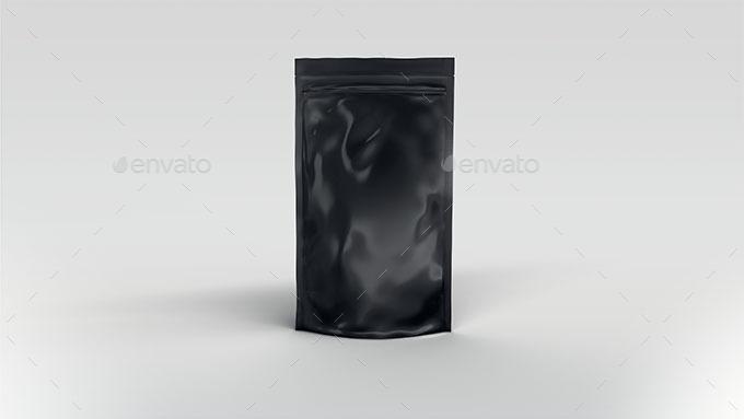 Black Gloss Bag coffee bag and coffee cup mockup psd template