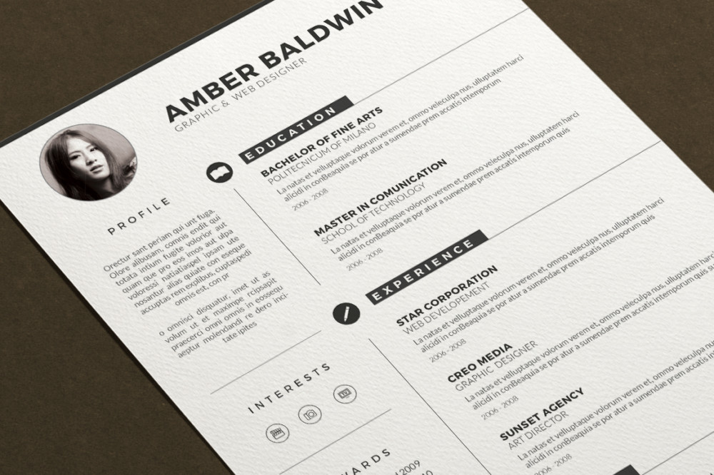 A4 Layered Resume Template