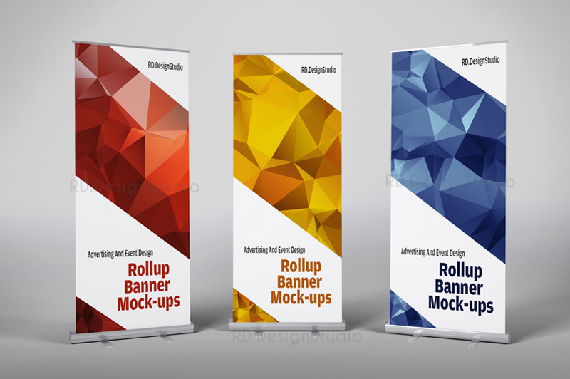 Advertising Roll Up Banner Mockup Graphic Cloud