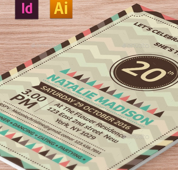 Ai and InDesign Birthday Invitation Template