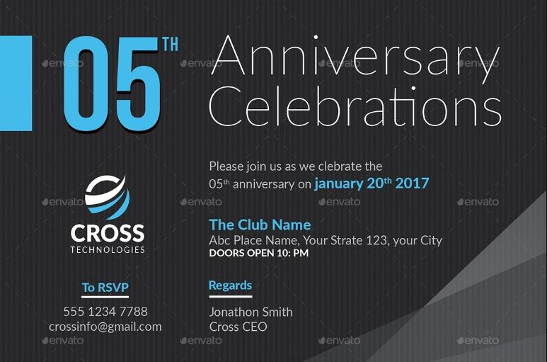 Anniversary Invitation PSD Template