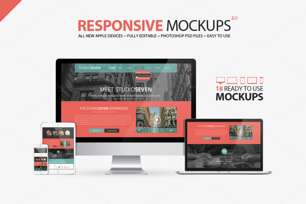 Apple Devices Responsive Mockup PSD