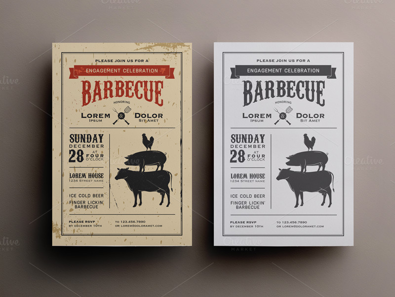 BBQ Invitation Template PSD