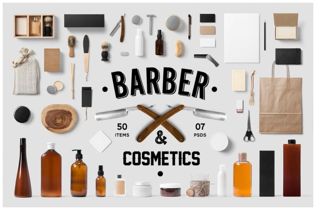 Barber Shop Branding Mockup PSD