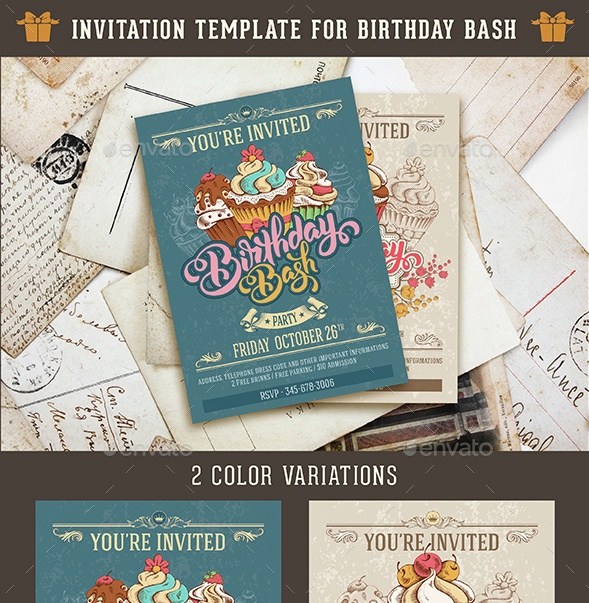 Birthday Bash PSD Invitation Template