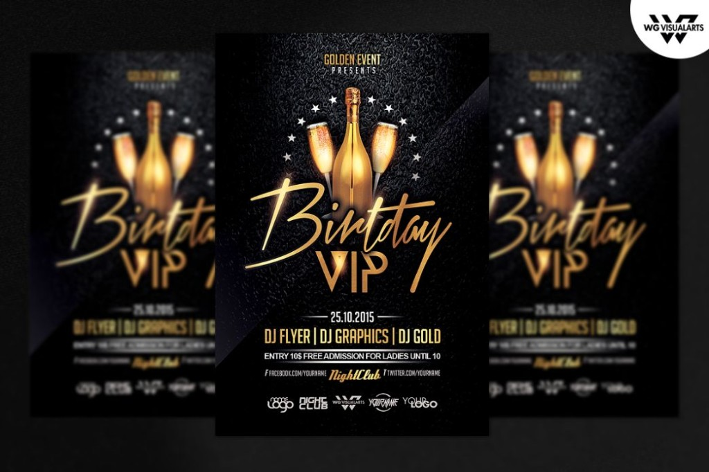 Birthday VIP Flyer Template PSD