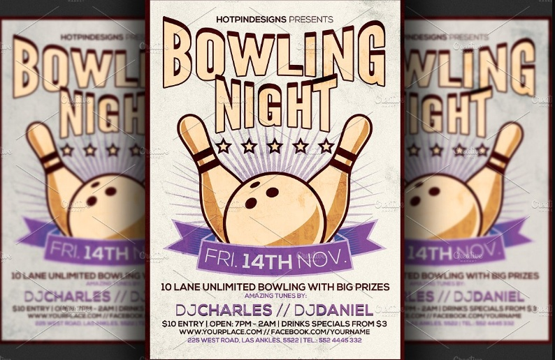 Bowling Night Flyer Template PSD