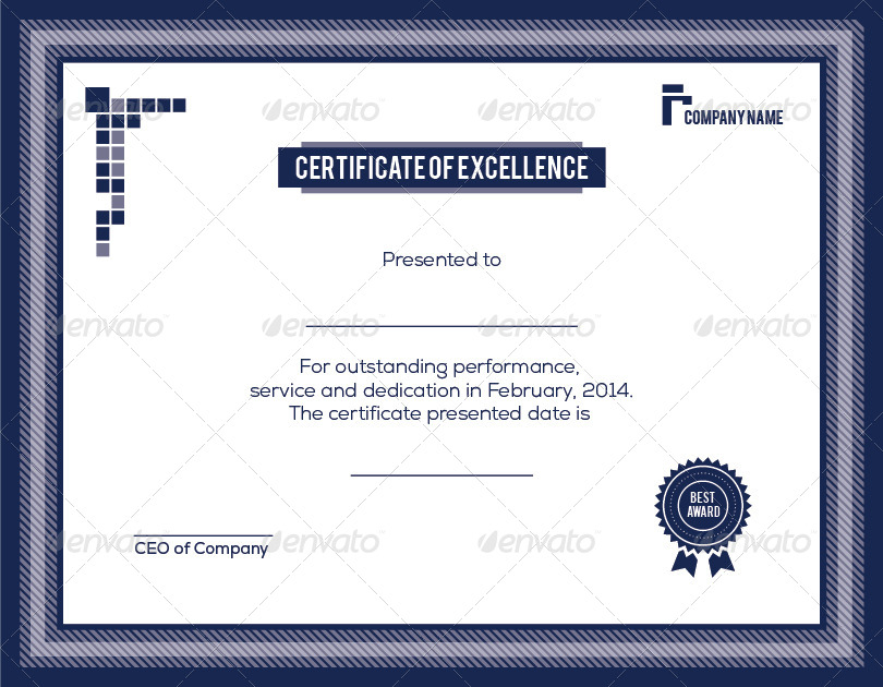 Certificate of Exellence Template