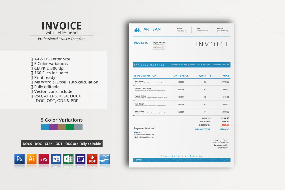 Commercial invoice and Letterhead Template