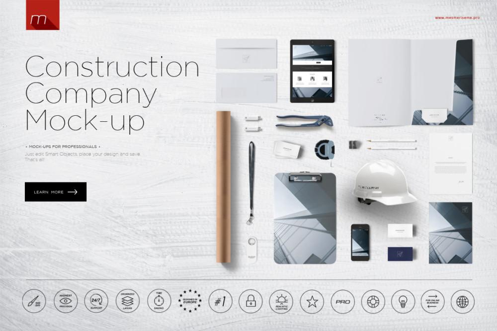 Construction Company Mockup PSD