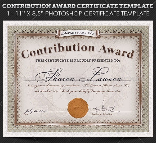 Contribution Award Certificate Template
