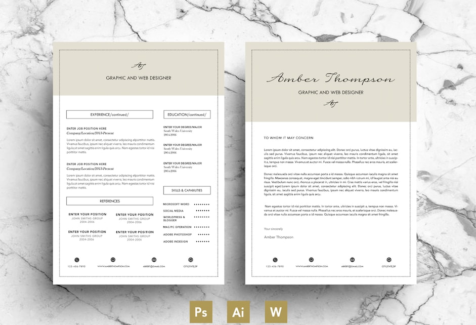 Creative Business Resume Template Word and PSD