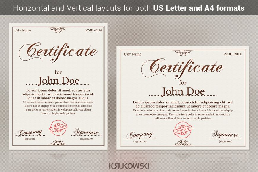 Customizable Award Certificate Template