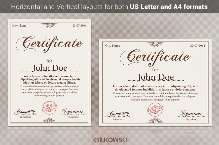 Customizable Award Certificate Template