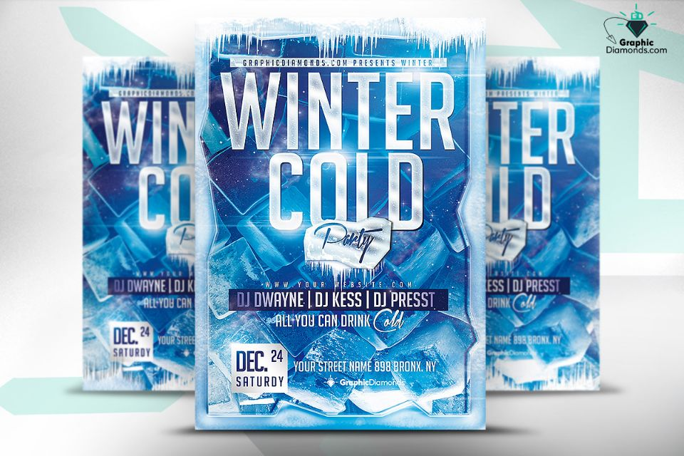 Customizable Winter Party Flyer Template