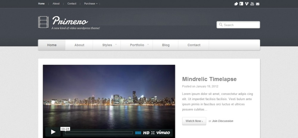 Customizeble WordPress Video theme