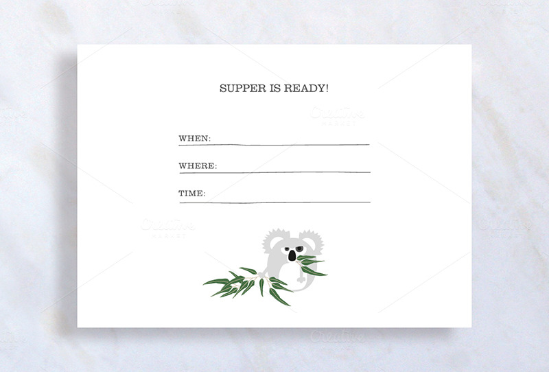 Cute Dinner Invitation Template EPS