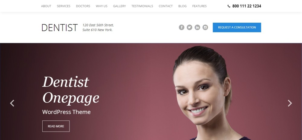 Dentist One Page WordPress Theme