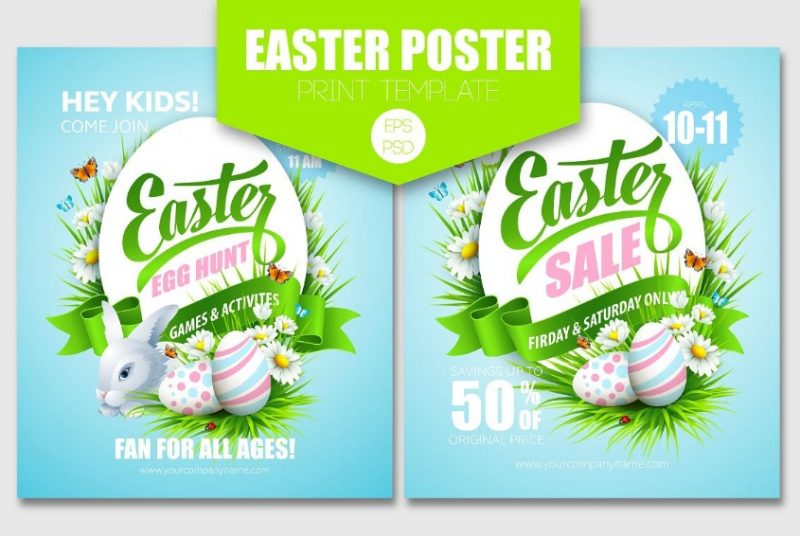 Easter Poster Template PSD