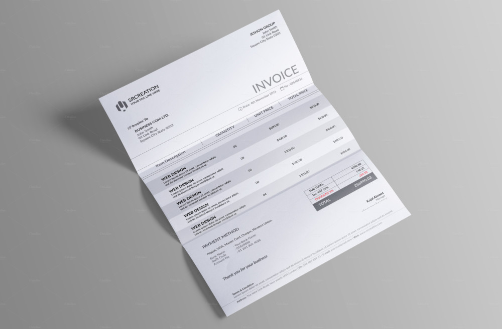 Editable Commercial Invoice Template