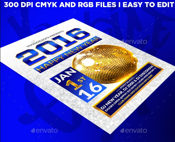 Editable New Year Flyer Template