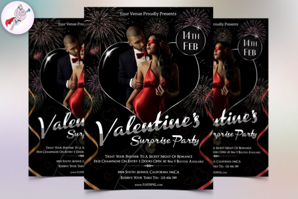 Elegant Valentines party Flyer Template PSD