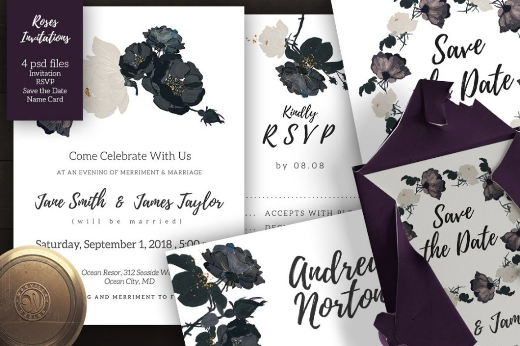 Elegant Wedding Invitation PSD Set