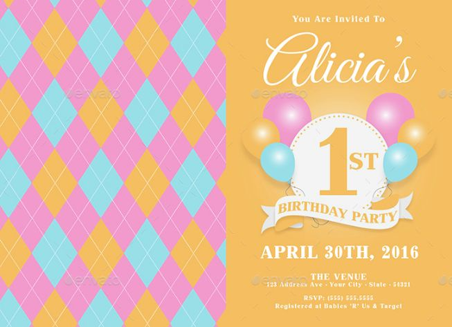 First Birthday Invitation Template PSD