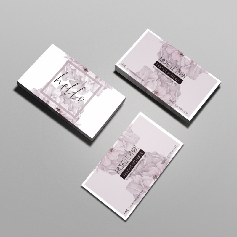 Floral Business Card Template PSD
