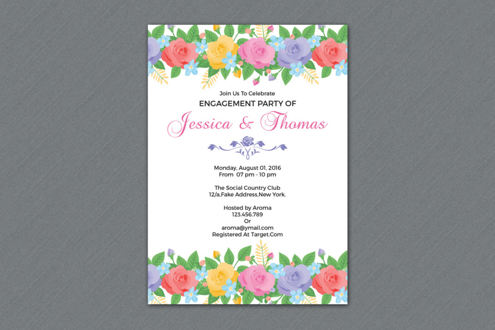 Floral Dinner Invitation Template