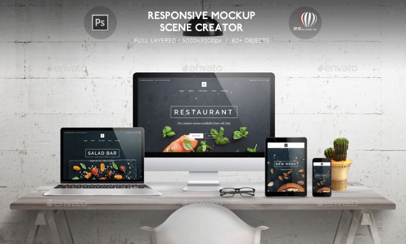 Fully Customizable Responsive Mockup