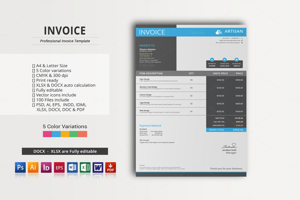 Fully Editable Commercial Invoice Template