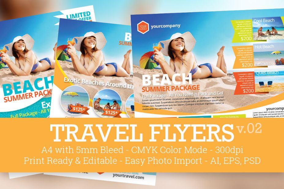 Fully Editable Travel Flyers Template PSD