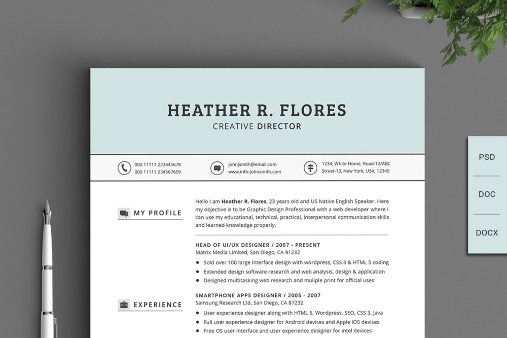 Functional Creative Director Resume Template Graphic Cloud