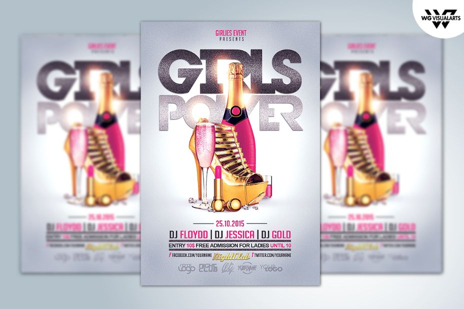 Girls Event Flyer Template PSD