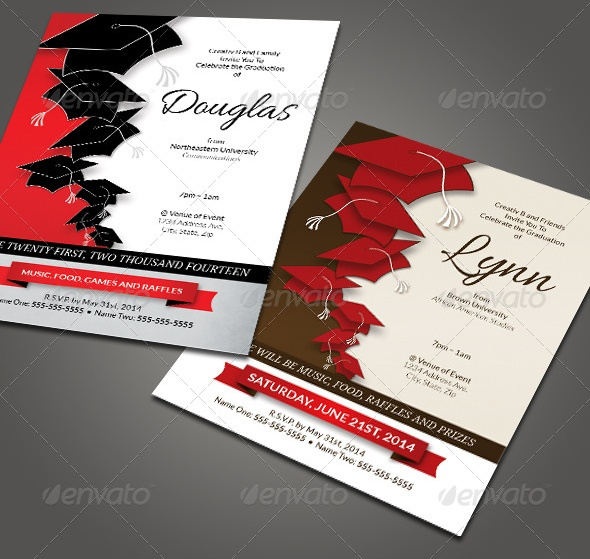 Graduation Party Invitation PSD Template