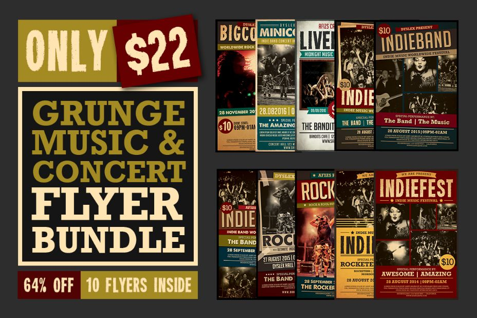 Grunge Music Concert Flyer Template