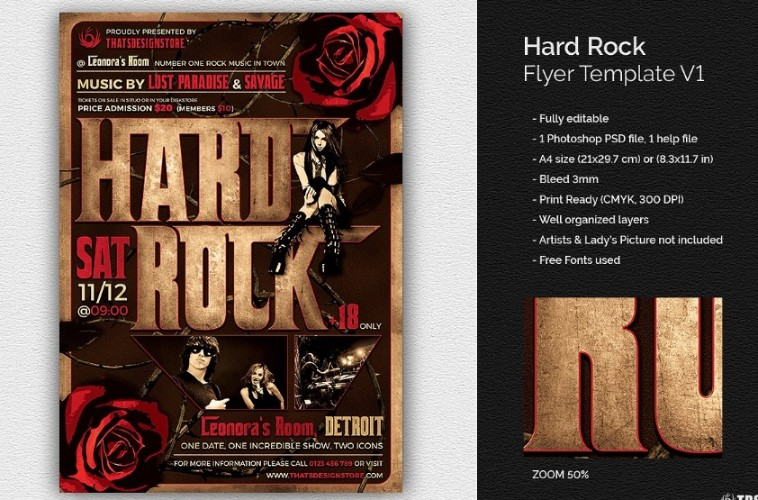 Hard Rock Flyer Template PSD