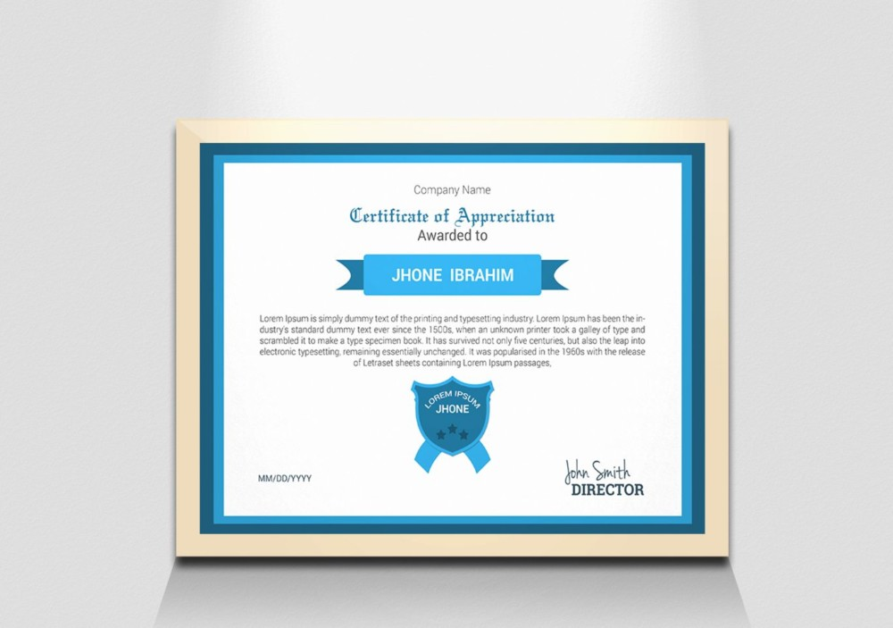 High Resolution Award Certificate Template