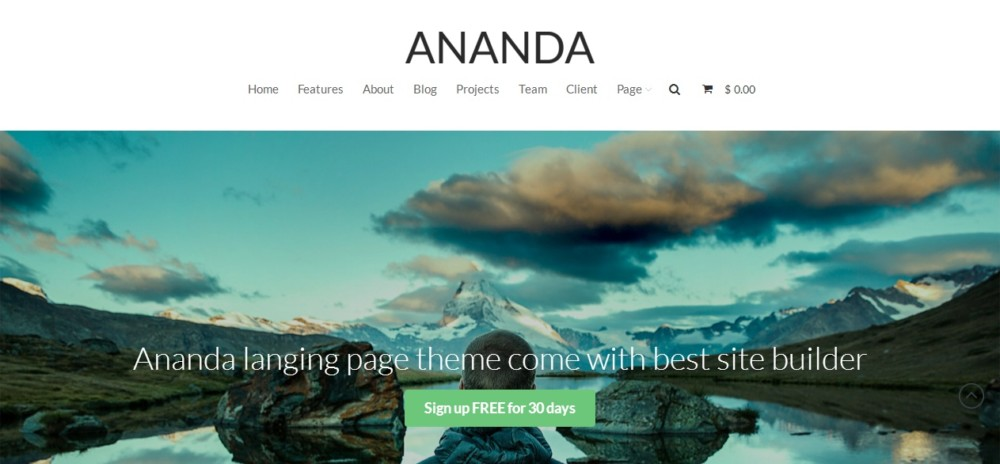 High Resolution Landing page WordPress Theme