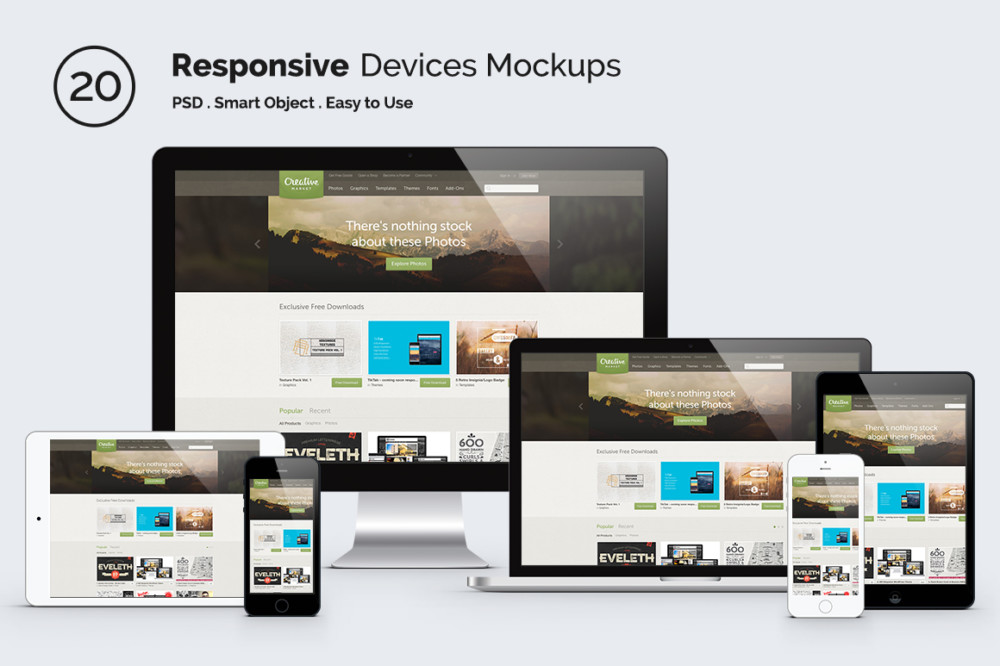 High Resolution Responsive Mockup PSD