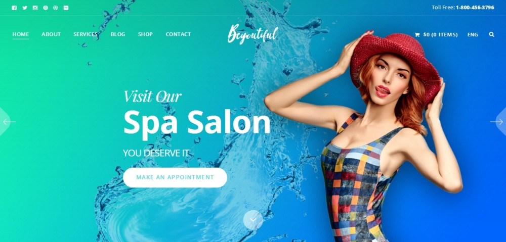 High Resolution WordPress Spa and Salon Theme