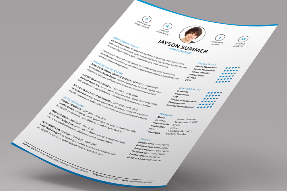 10 executive resume template word psd indesign format graphic