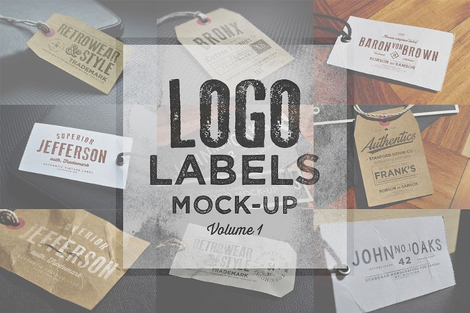 Logo Label Mockup PSD Set