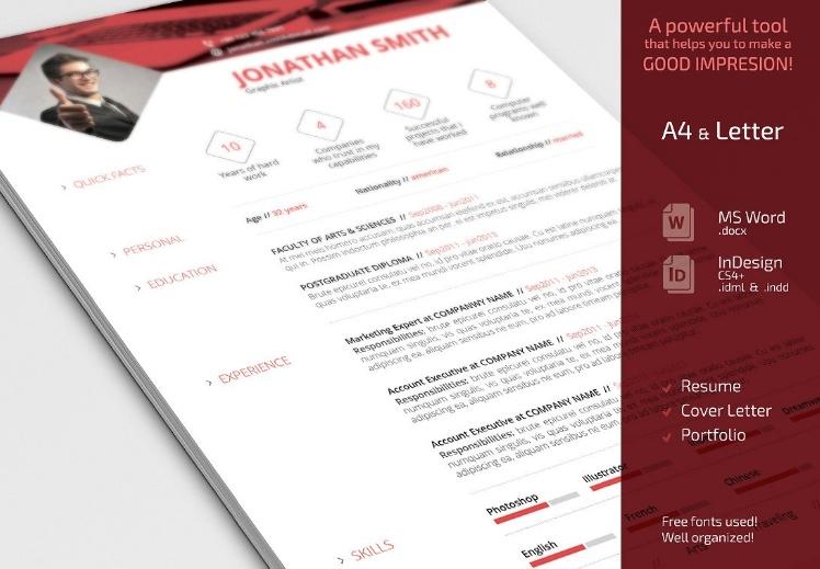 Minimal Resume Template PSD