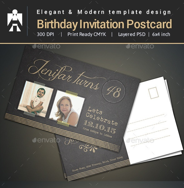 Modern Birthday Invitation Template PSD