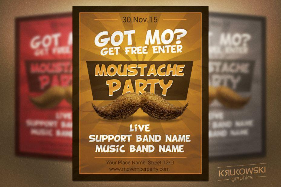 Moustache Party Flyer Template
