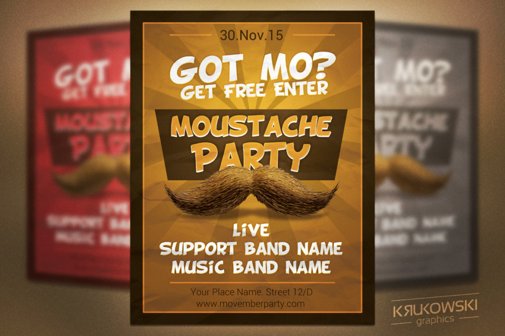 Moustache Party Invitation Template